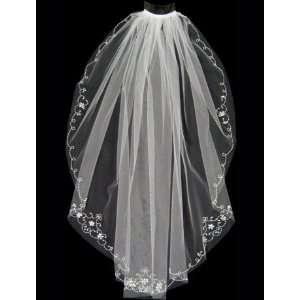 Scalloped Edge Wedding Veil with Rhinestone Flowers