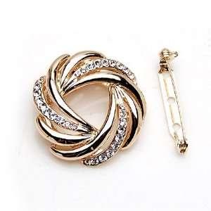 Clip On Style Lady Pin Brooch Ornament Gold Metallic w/Rhinestone