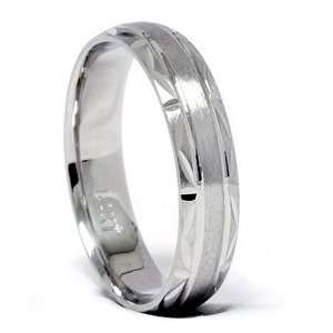 Brushed Wedding Band 14K White Gold Jewelry