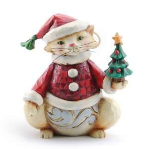 Jim Shore Christmas Mini Kitty Cat Holding Tree