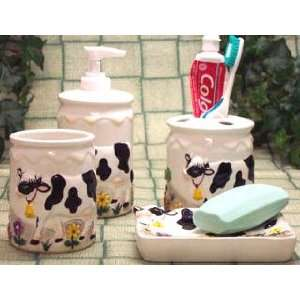 Bathroom Accessory Set Cows Bath Room Toothbrush Holder Tumber Soap