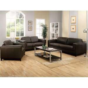 3PC Metro Contemporaly Chocolate Brown Leather Sofa