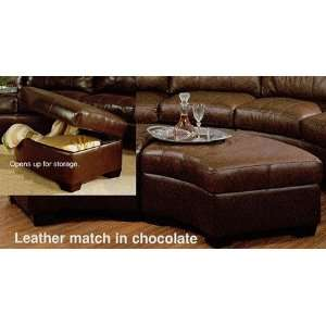 Jade Contemporary Chocolate Brown Leather Storage Ottoman