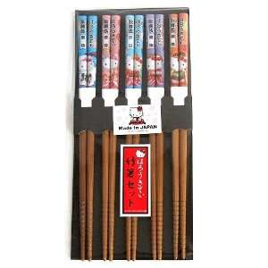 Sanrio Hello Kitty Design Japanese Bamboo Chopsticks (Set of 5 Pairs