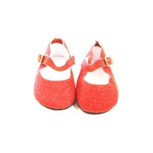 American Girl Doll Clothes Red Glitter Strap Dress Shoes