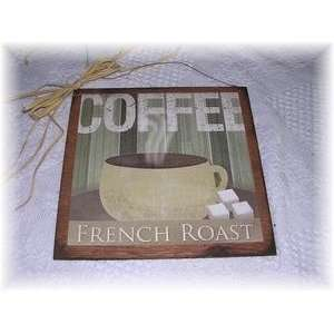 French Roast Coffee Wooden Kitchen Sign Cafe Decor Wall Art