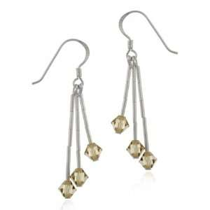 Silver Light Brown Genuine Swarovski Crystal Drop Earrings Jewelry
