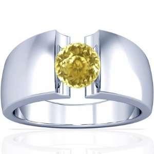 Platinum Round Cut Yellow Sapphire Mens Ring Jewelry