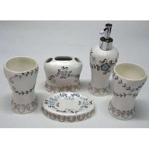 New 5 Piece Bathroom Accessory Set   Floral and Leaves Pattern