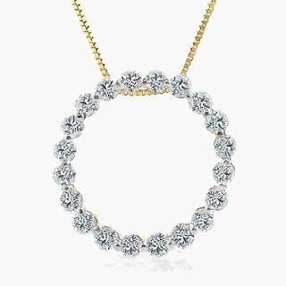 Stunning 14k Yellow Gold Diamond Circle Pendant Necklace 3/4 ctw with