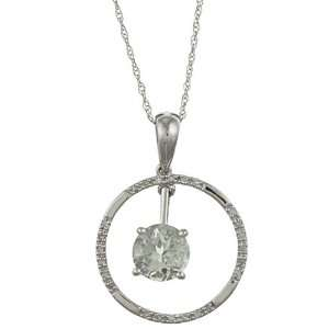 Gold 2.13cttw Round Green Amethyst and Diamond Circle Pendant Necklace