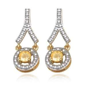 Gold Plated Sterling Silver Citrine 4mm and Diamond Earrings Jewelry