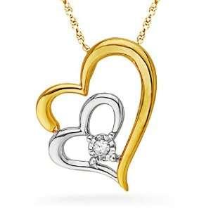 Diamond Solitaire Double Heart Pendant (0.03 cttw) D Gold Jewelry