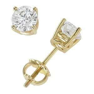 18k Yellow Gold & Round Diamond Stud Earrings (0.75 ctw) Jewelry