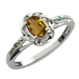 56 Ct Oval Whiskey Quartz Green Diamond 18K White Gold Ring Jewelry