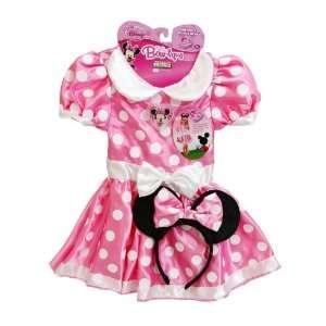 3 Item Bundle Disney Minnie Mouse Pink & White Classic Dress