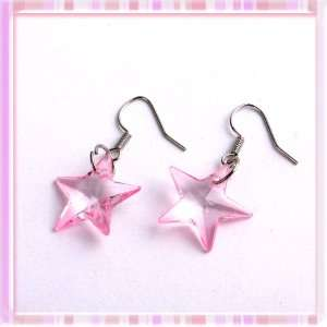 Lovely Pink Plastic Five point Star Earrings Pin 1 Pair P1168 Beauty