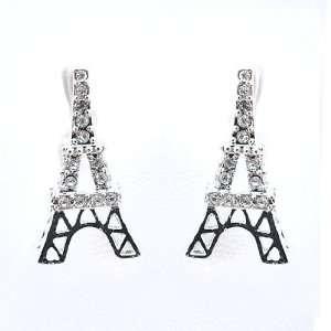 Gloss Silver Plated Eiffel Tower Earrings Half Face