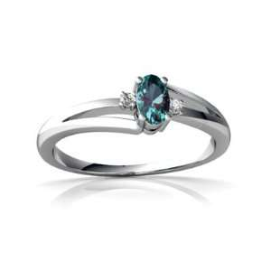 14K White Gold Oval Created Alexandrite Ring Size 9 Jewelry
