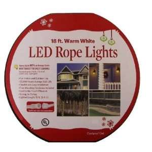 18 Feet Warm White LED Rope Lights Patio, Lawn & Garden