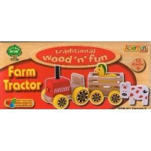 Traditional Wood N Fun Farm Tractor with Horse and Cow: Toys & Games