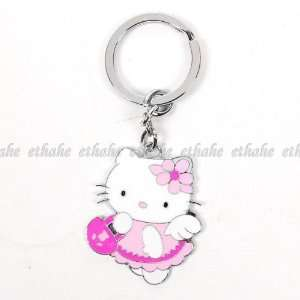 Hello Kitty Figure Key Ring Chain Keyring Pink Office