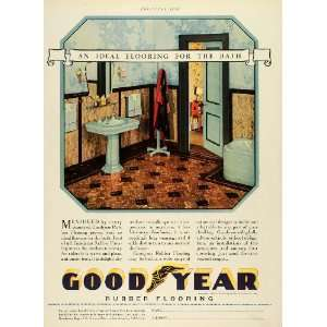 1929 Ad Goodyear Rubber Flooring Bathroom Home Decor Sink