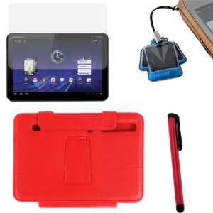 GTMax Red High Quality Premium Leather Case Folio with Built in Stand