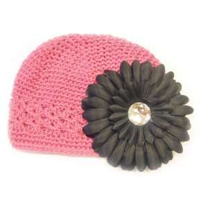 Fits 0   9 Months With a 4 Black Gerbera Daisy Flower Hair Clip Baby