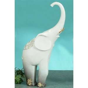 Gray Elephant W/ Gold Trim Statue Figurine Home & Kitchen