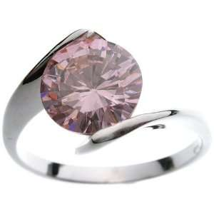 18K White Gold Plated Solitaire Pink CZ Ring Jewelry