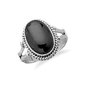 Oval Black Onyx Rope Edge Ring   Size 8 West Coast Jewelry Jewelry