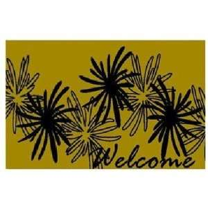 DC MILLS 72019 Green Flowers Welcome Vinyl Back Mat 18 X