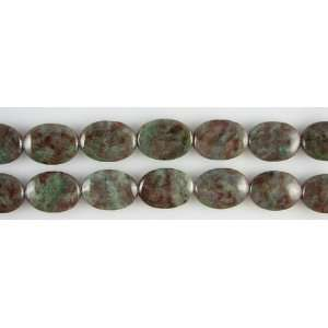 25mm red green garnet flat oval beads 8 8pcs