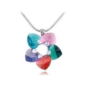Garden Heart Shaped Petals Swarovski Crystal Element Necklace Jewelry