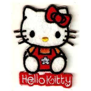 Hello Kitty in orange shirt red bow Embroidered Iron On / Sew On Patch