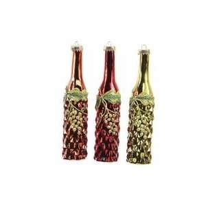 Set 12 Glass Wine Bottle and Grape Christmas Ornaments