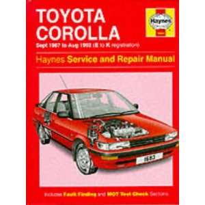 Toyota Corolla 1987 92 Service and Repair Manual (Haynes