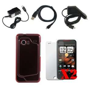 Combo Kit for the HTC Droid Incredible  Crystal Hard Case (Red Case