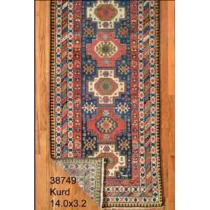 3x14 Hand Knotted Kurd Kurdistan Rug   32x140: Home & Kitchen