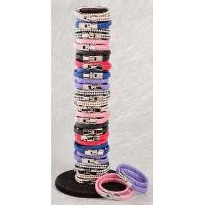 Flat Braided Leather Wrap Bracelet (Purple, Pink Red Blue