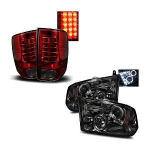 Ram 1500 Smoke LED Halo Projector Headlights + LED Tail Lights Combo