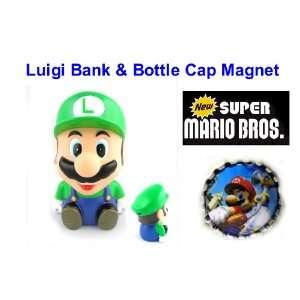 Mario Brothers Luigi 4 Piggy Bank and Unique Mario Bottle Cap Magnet
