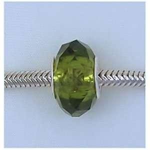 Olivine Green Crystal Glass Charm Bead for Troll Biagi