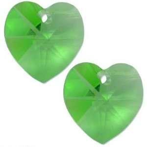 2 Peridot Swarovski Crystal Heart Charm 6202 10mm