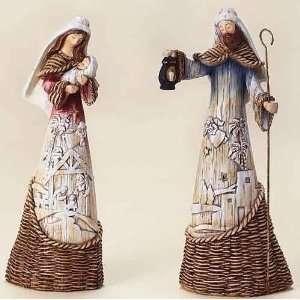 Woodland Inspirations Holy Family Basket Weave Christmas Figures 9.5