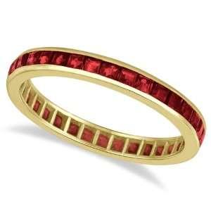 Princess Cut Garnet Eternity Ring Band 14k Yellow Gold (1
