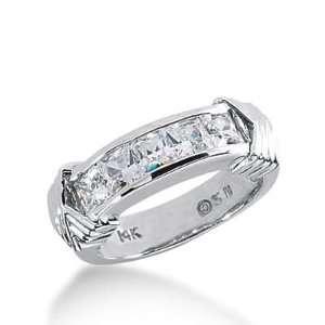 14k Gold Diamond Anniversary Wedding Ring 5 Princess Cut Diamonds 1.35