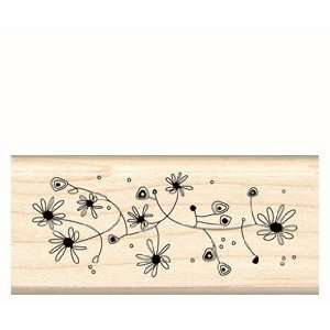 Crazy Daisy Patch Wood Mounted Rubber Stamp