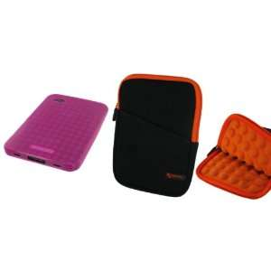 Super Bubble Neoprene Sleeve Case (Black / Orange) and TPU Flex Skin